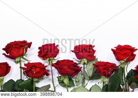 Red roses border frame isolated on white background, Valentine's Day