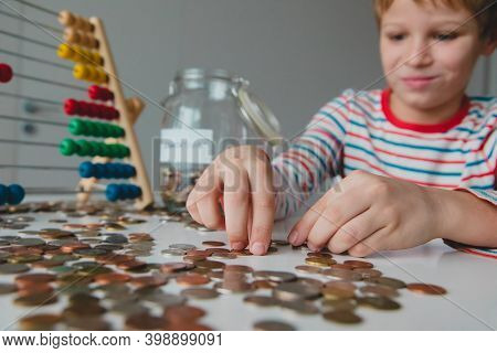 Boy Counting Money, Kid Saving Coins, Personal Finances For Kids