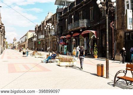 Gyumri, Armenia - October 12, 2018: People Walking Down The Street In Gyumri Downtown, Armenia.