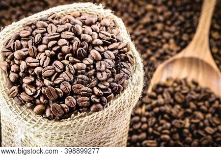 Selected Arabica Coffee Beans, High Quality Coffee For Export, Made In Brazil, Space For Text