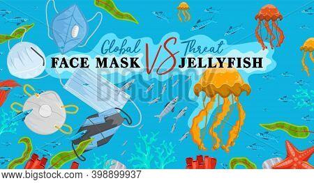 Stop Wrong Face Masks Disposal. Medical Supplies Polluting The Ocean. Safe Ecology. Horizontal Poste