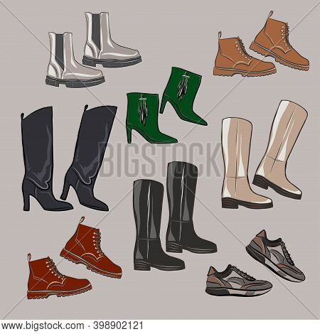 A Set Of Different Types Of Shoes. Sneakers, Boots, Ankle Boots, Boots. Beige, Black, Emerald, Ocher