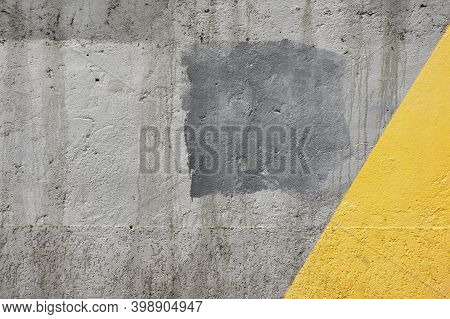 Illuminating Yellow And Ultimate Gray Color Wall Background Material. Urban Concrete Grey Texture Pl