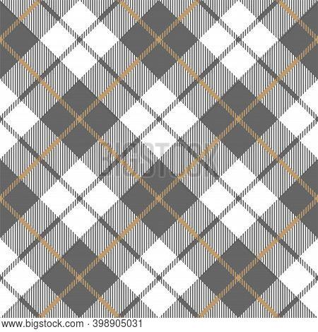 Gold Platinum Checkered Plaid Seamless Pattern. Vector Illustration.