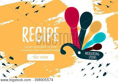 Template Poster With Baking Measuring Spoons And Recipe Word