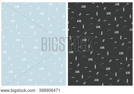 Set Of Irregular Geometric Seamless Vector Patterns. White Hand Drawn Spots, Stripes, Loops Isoleted