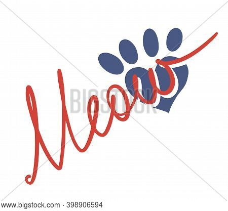 Lettering Word Meow Isolated On White Background With Heart Shaped Cat Paw Print Eps10 Vector Hand D