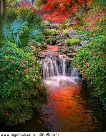 Vivid Fall Colors In The Fort Worth Botanic Garden Featuring A Cascading Stream And Colorful Reflect