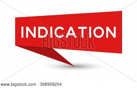 Red Color Paper Speech Banner With Word Indication On White Background