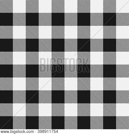 Shepherd Check Pattern In Black And White, Vector Illustration