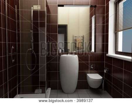 Modern Bathroom With Brown Tiles