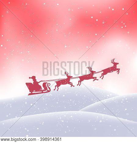 Santa Flies From Snowdrift In Christmas Pink Sky