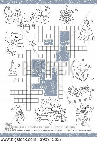 Crossword Puzzle. Christmas Theme Crossword Puzzle Game. For Kids. Game And Coloring Page. Text In F