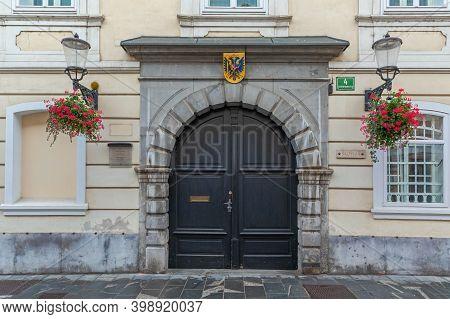 Ljubljana, Slovenia - November 4, 2019: Entrance To Archbishop Palace Skofija In Ljubljana, Slovenia