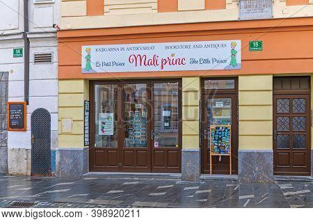 Ljubljana, Slovenia - November 4, 2019: Bookstore And Antiques The Little Prince In Ljubljana, Slove