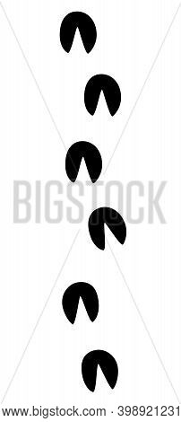 Donkey Tracks. Ass Hooves Footprints. Isolated Black Icon Vector Illustration On White Background.