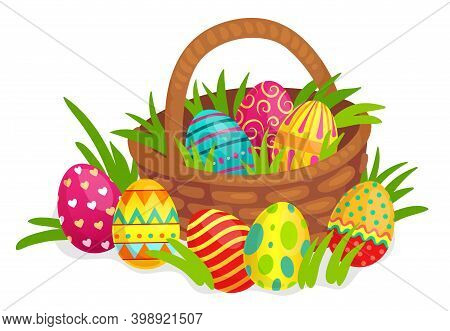Easter Decorated Eggs In Wicker Basket. Colorful Eggs With Hearts, Lines, Dots And Twirls Decoration