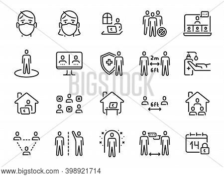 Social Distance Icons. Self Quarantine, Safe Distancing And Stay Home Line Icon. Man And Woman In Ma