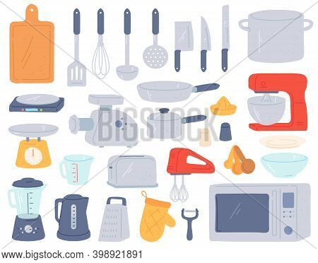 Kitchen Tools. Cooking Utensil And Electric Appliances For Baking Oven, Mixer, Scales, Mincer. Home