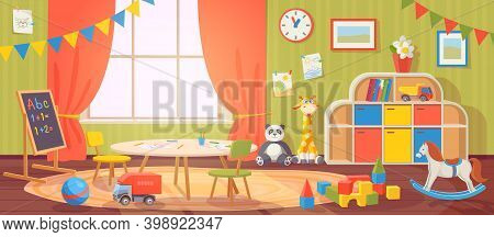 Kindergarten Interior. Daycare Nursery With Furniture And Kid Toys. Preschool Child Room For Playing
