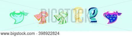 Set Of Neck Scarf Cartoon Icon Design Template With Various Models. Modern Vector Illustration Isola