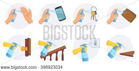 Things To Disinfect. Clean And Sanitize Areas Key, Wallet, Smartphone And Door Knob With Alcohol Spr