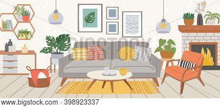 Living Room Interior. Modern Home Indoor Furniture Cozy Sofa, Carpet, Chair, Table And Plant In Scan