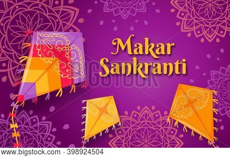 Makar Sankranti Festival. Happy Indian Sun Celebration Day Poster With Flying Kites. Sankrant Harves