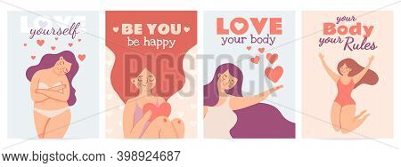 Body Positive Posters. Love Yourself Prints With Happy Woman With Self Esteem, Heart And Motivation