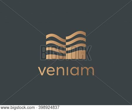 Abstract Residence House Logo Design Template. Premium Real Estate Resort Hotel Vector Icon Sign Log