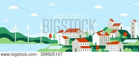 Eco City. Urban Landscape Of Future Town Use Alternative Energy Sources Solar Panel And Windmills. S