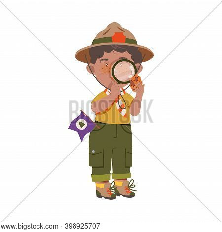 Boy Junior Scout With Freckles Examining Fir Cone With Magnifying Glass Vector Illustration