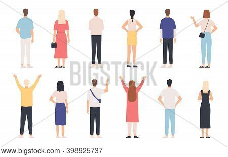 People From Behind. Adult Man And Woman Back View Standing Poses. Happy Person With Hands Up And Wav