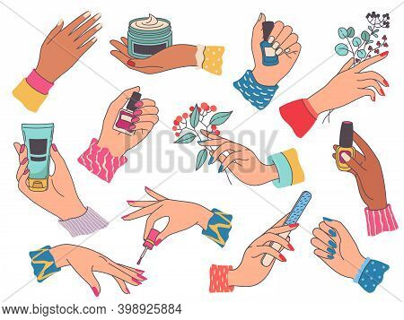 Female Hands With Manicure. Woman Painting Nails, Holding Cream, File, Flower And Polish Bottle. Bea