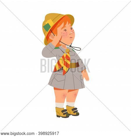 Cute Girl In Hat As Junior Scout Saluting Vector Illustration
