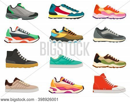 Sneakers Shoes. Fitness Footwear For Sport, Running And Training. Colorful Modern Shoe Designs. Snea