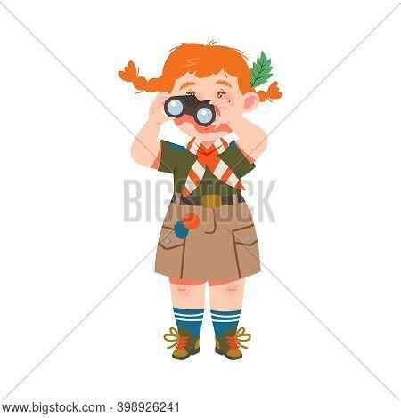 Cute Girl As Junior Scout Looking In Binocular Vector Illustration