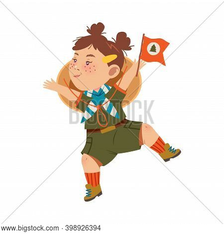 Cute Girl As Junior Scout Holding Flag And Jumping With Joy Vector Illustration