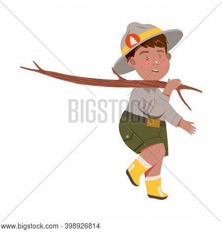 Freckled Boy As Junior Scout Carrying Wooden Stick Vector Illustration