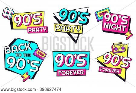 Back To 90s. Memphis Style Labels For Invitation Cards For Party With Geometric Shapes As Triangle,