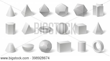 White Geometric 3d Shapes. Geometry Form For Education. Hexagonal And Triangular Prism, Cylinder And