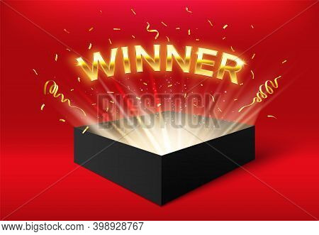 Winner Glowing Box With Golden Ribbons And Confetti. Surprise Carton Isolated On Red For Event Celeb
