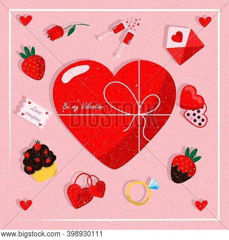 Design Of A Greeting Card With A Heart For Lovers On A Pink Background. Valentines Day Greeting Card
