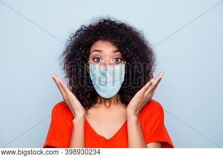 Close-up Portrait Of Pretty Amazed Wavy-haired Girl Wearing Safety Gauze Mask Stop Mers Cov Influenz