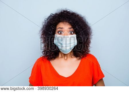 Close-up Portrait Of Pretty Worried Wavy-haired Girl Wearing Safety Gauze Mask Stop Mers Cov Risk St
