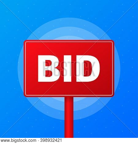 Bid Realistic Red Table On Blue Background. Vector Illustration.