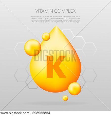 Vitamin K Shining Pill Capcule Icon. Shining Golden Substance Drop. Meds Ads. Beauty Treatment Nutri