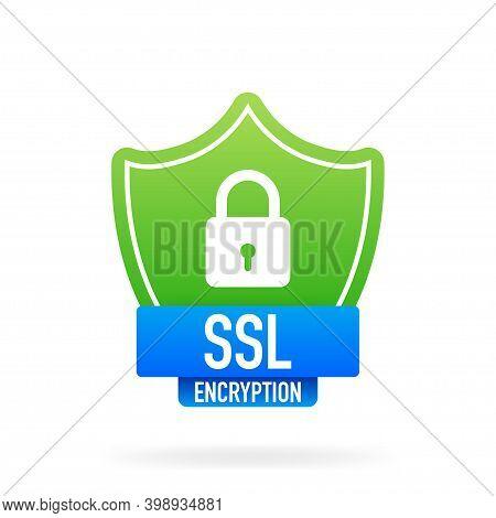 Ssl Encryption Secure Badge On White Background. Green Banner. Vector Illustration.