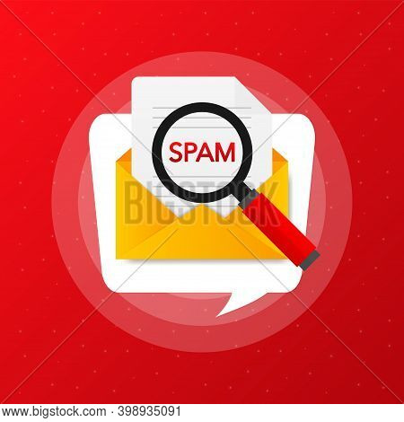 Magnifying Glass Over Letter In Flat Style. Spam In The Mail. Vector Illustration.