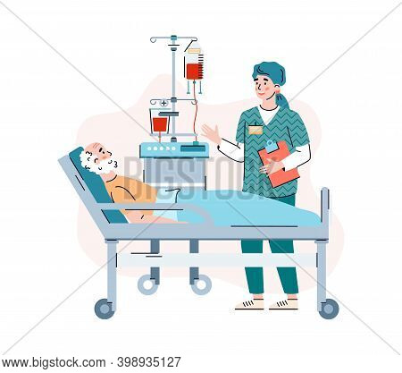 Attending Physician Consulting Elderly Patient In The Hospital Ward, Flat Cartoon Vector Illustratio